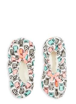 Printed Fuzzy Slipper Socks - IVORY - 1130055321968