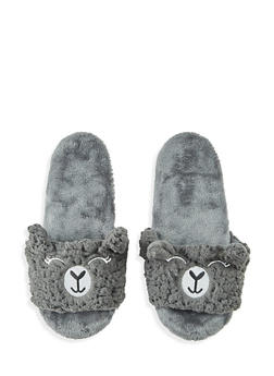 Fuzzy Animal Slippers - CHARCOAL - 1130055322741