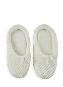 Textured Faux Fur Slippers - White - Size M - 1130055324102