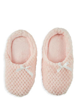 Textured Faux Fur Slippers - 1130055324102