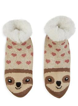 Animal Knit Slipper Socks - OATMEAL - 1130055324105