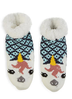 Animal Knit Slipper Socks - BLUE - 1130055324105