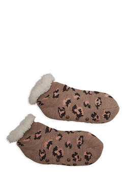 Printed Knit Slipper Socks - 1130055324844