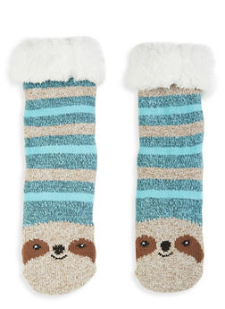 Animal Fuzzy Knit Socks - BLUE - 1130055325552