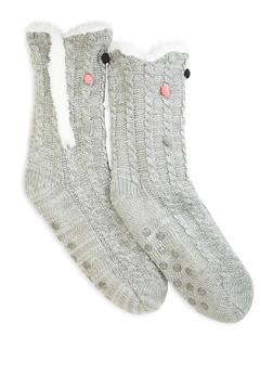 Sherpa Lined Slipper Socks - HEATHER - 1130055325599