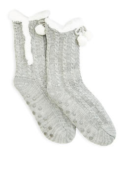Sherpa Lined Slipper Socks - GRAY - 1130055325599