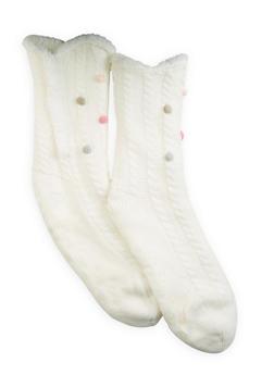 Sherpa Lined Slipper Socks - IVORY - 1130055325599