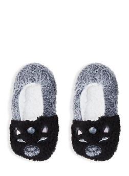 Fuzzy Animal Slippers - BLACK - 1130055325777