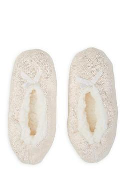 Fuzzy Glitter Slippers - IVORY - 1130055325977