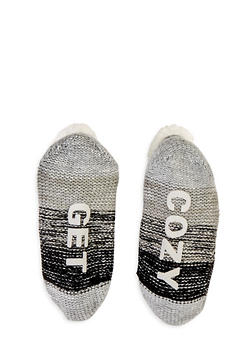 Text Graphic Cable Knit Slipper Socks - 1130055326611