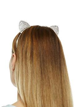 Metallic Rhinestone Cat Ear Headband - 1131018430132