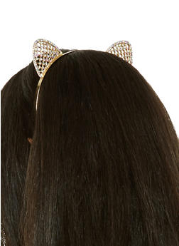 Metallic Rhinestone Cat Ear Headband - 1131018430132