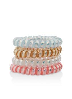 Set of 4 Iridescent Spiral Hair Ties - 1131057691381