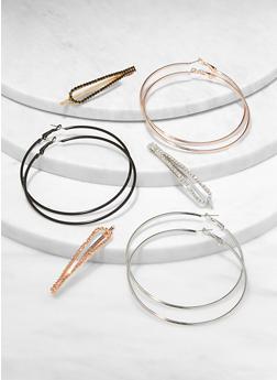 Rhinestone Hair Pin and Hoop Earrings Set - 1131057695327