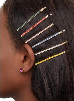 Rhinestone Bobby Pins and Stud Earrings Set - 1131057695328