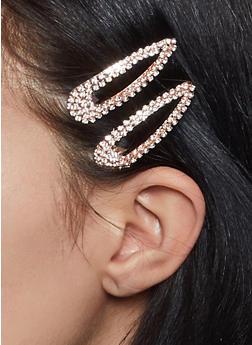 Rhinestone Hair Clip Duo - 1131062755481
