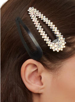 Set of 2 Rhinestone and Plain Hair Clips - 1131062810140