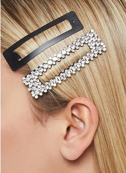 Set of Rhinestone and Metal Hair Clips - 1131062810181