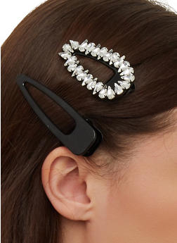 Jeweled and Solid Hair Clip Duo - 1131062812685