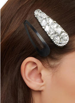 Bejeweled and Solid Hair Clip Duo - 1131062813097