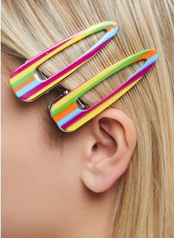Striped Hair Clip Duo - 1131062813218
