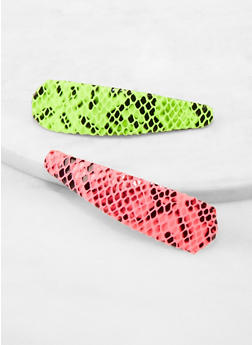 Neon Snake Print Barrettes - 1131062813822