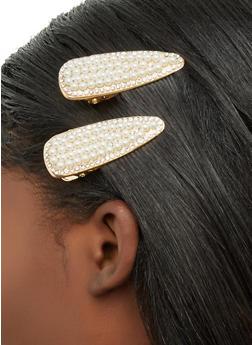 Rhinestone Faux Pearl Clip Duo - 1131063091881