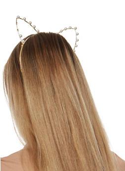 Faux Pearl Studded Cat Ears Headband - 1131063092510