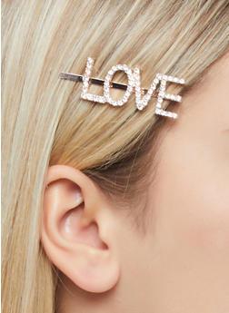 Love Rhinestone Bobby Pin - 1131063093450