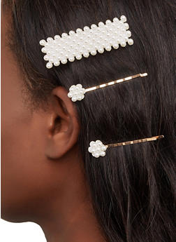 Trio of Faux Pearl Hair Clips - 1131063095550