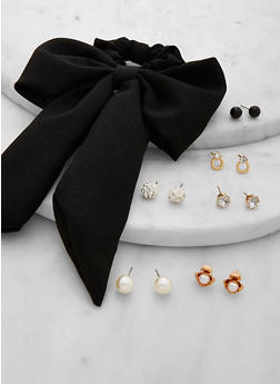 Bow Scrunchie with 6 Stud Earrings - 1131071210168