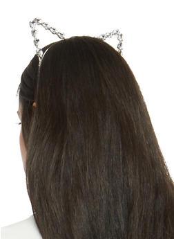 Large Rhinestone Cat Ear Headband - 1131073840561