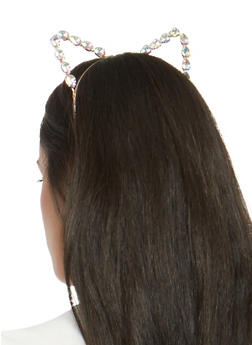 Large Rhinestone Cat Ear Headband - 1131073840561