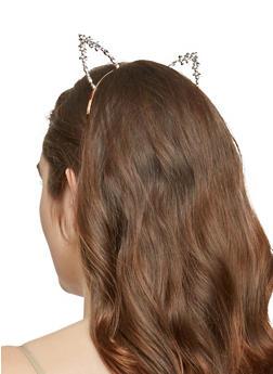 Multi Color Rhinestone Cat Ears Headband - 1131074172713