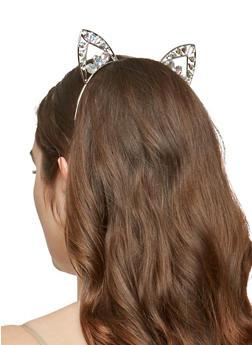 Rhinestone Studded Cat Ear Headband - 1131074172714