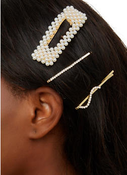 Rectangular Faux Pearl Barrette and Bobby Pins - 1131074974009