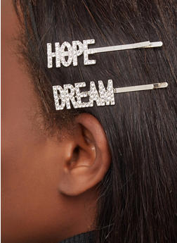 Rhinestone Hope Dream Bobby Pins - 1131075953333