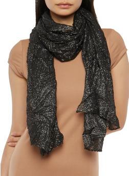 Crinkled Glitter Knit Scarf - BLACK - 1132067448009