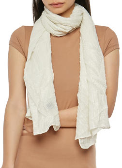 Crinkled Glitter Knit Scarf - OFF WHITE - 1132067448009