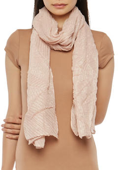 Crinkled Glitter Knit Scarf - BLUSH - 1132067448009