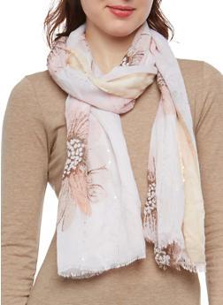 Floral Rhinestone Scarf - 1132067448040