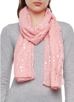 Metallic Star Embossed Lightweight Scarf - PINK - 1132067448041