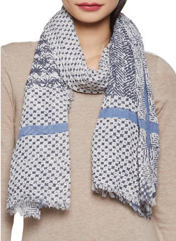 Printed Frayed Scarf - 1132067448073