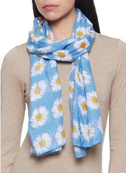 Lightweight Daisy Print Scarf - 1132067448075