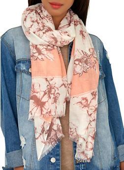 Floral Border Print Scarf - Pink - 1132067449000