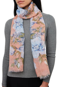 Floral Frayed Sequin Scarf - 1132067449001