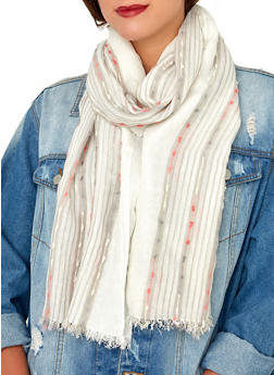 Embroidered Lightweight Scarf - White - 1132067449003