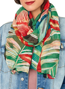 Leaf and Floral Print Lightweight Scarf - 1132067449006