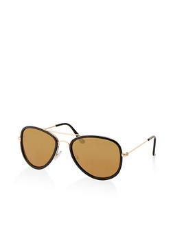 Plastic Trim Aviator Sunglasses - 1133004261252