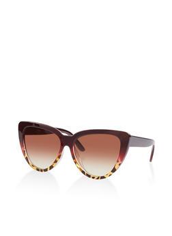 Two Tone Cat Eye Sunglasses - 1133056179152